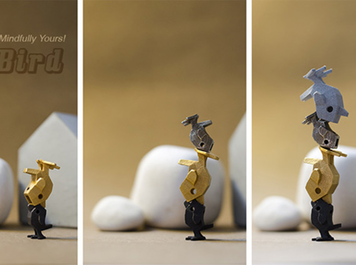 LaBird 22MM - Desktop Stacking Toy and Jewelry Des 3d printed Stacking in action with mixed material in size 22mm & 30mm