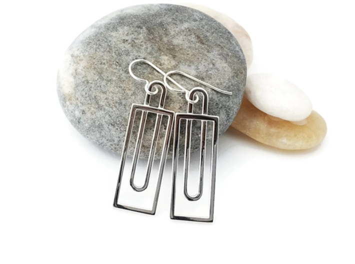 Simple Rectangles - Architectural Earrings 3d printed