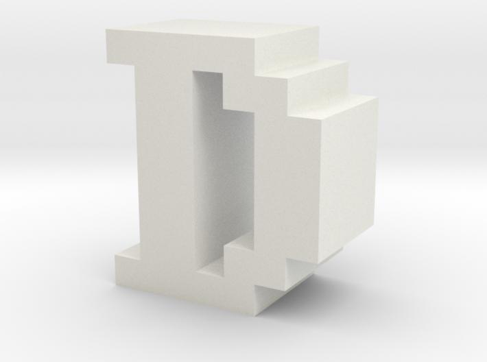 """""""D"""" inch size NES style pixel art font block 3d printed """"D"""" inch size NES style pixel art font block"""