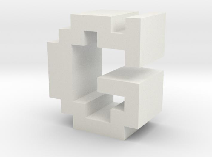 """G"" inch size NES style pixel art font block 3d printed"
