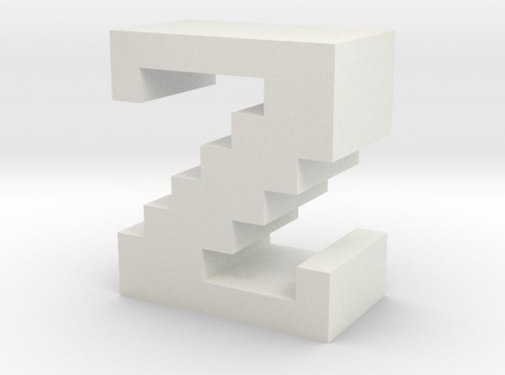"""Z"" inch size NES style pixel art font block 3d printed"