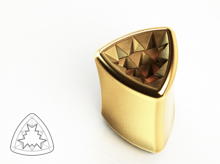 "Stretch Diamond 8 By Jielt Gregoire 3d printed Polished Gold Steel 1/3"" or 8mm"