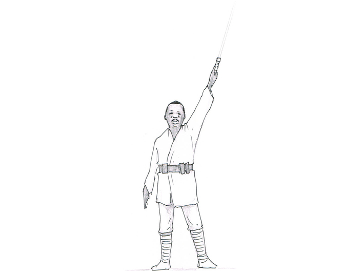 Martin Luther Kingwalker 3d printed Thumbnail sketch to design the character.