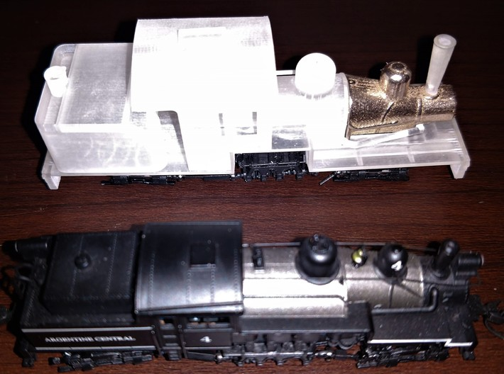 Hon30 Coffee Creek Light Shay Frame 3d printed Prototype with donor Atlas N Scale Shay