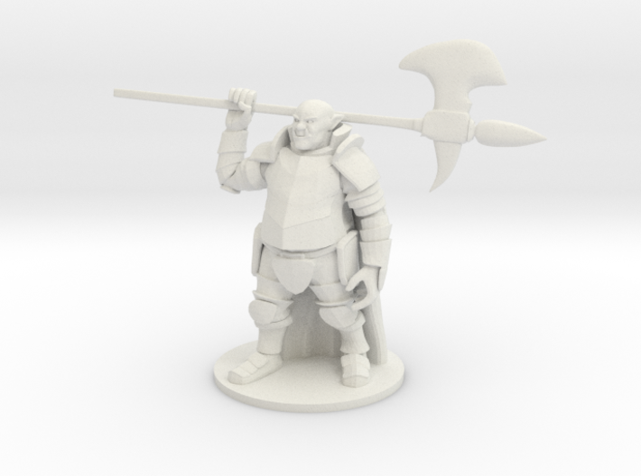 Ogre in Plate Armor with Halberd 3d printed
