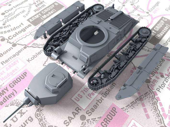 1/48 SARL 42 Tank (FCM 3 Man Turret 47mm SA37 Gun) 3d printed 3D render showing product detail