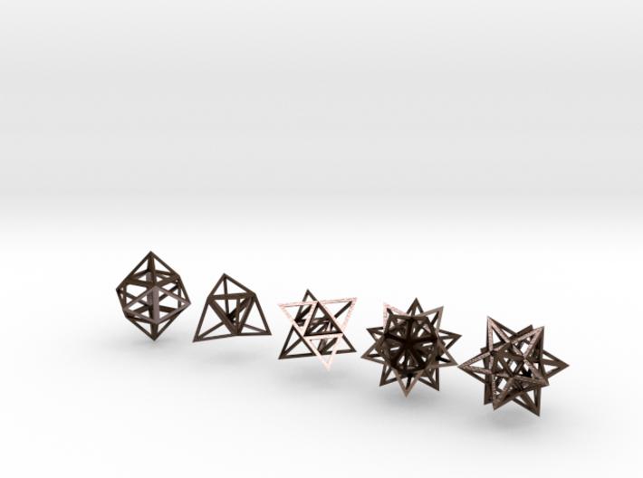 Stellated Platonic Solids DaVinci Style (set of 5) 3d printed