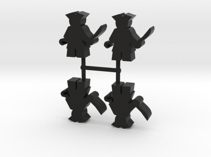 Pirate Meeple, hook, 4-set 3d printed