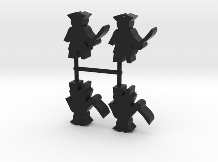 Pirate Meeple, peg leg, 4-set 3d printed