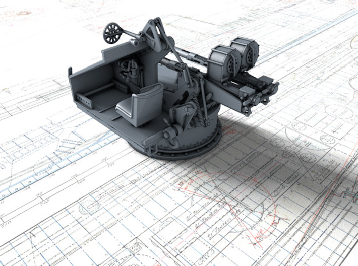 1/72 Twin 20mm Oerlikon Powered MKV Mount 3d printed 3d render showing interior detail (without side panel)