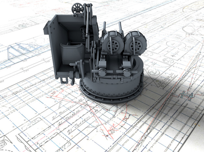 1/72 Twin 20mm Oerlikon Powered MKV Mount 3d printed 3d render showing product detail