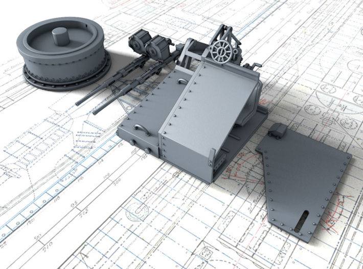 1/48 Twin 20mm Oerlikon Powered MKV Mount 25º 3d printed 3d render showing product parts