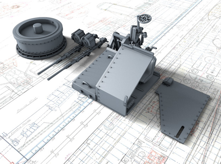 1/96 Twin 20mm Oerlikon MKV Mount Not in Use 3d printed 3d render showing product parts
