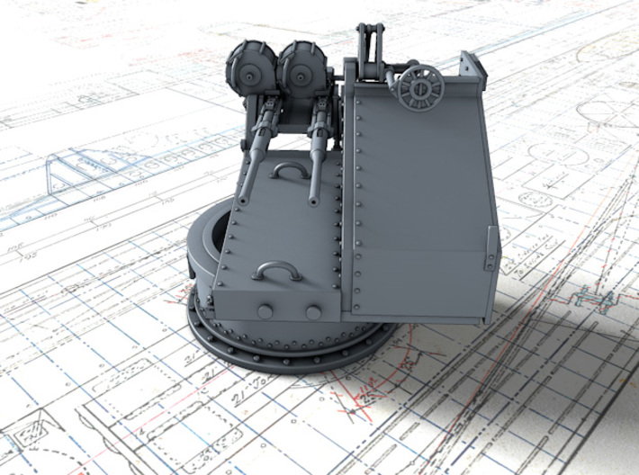 1/128 Twin 20mm Oerlikon Powered MKV Mount x4 3d printed 3d render showing product detail