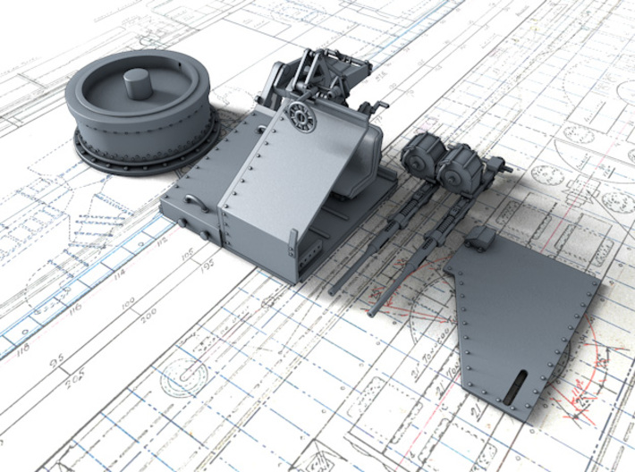1/128 Twin 20mm Oerlikon Powered MKV Mount x4 3d printed 3d render showing product parts