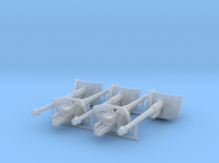 Five 1/87 HO scale 7.5cm Pak40 3d printed