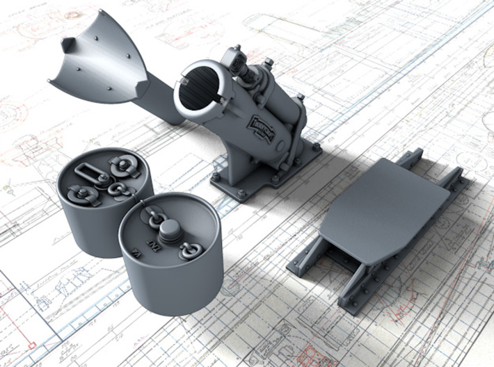 1/96 Royal Navy MKII Depth Charge Throwers x2 3d printed 3d render showing product parts