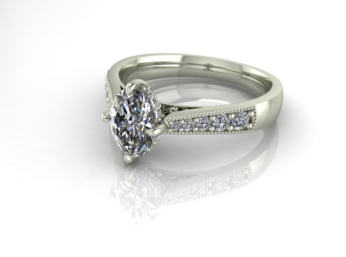 Classic oval Solitaire NO STONES SUPPLIED 3d printed
