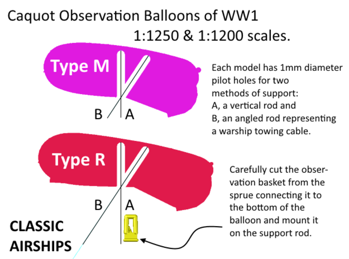 Caquot  Type M Observation Balloon Two-Pack 3d printed