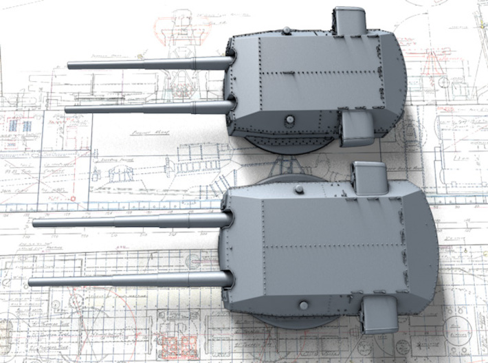 "1/400 H Class 40.6cm (16"") SK C/34 Guns Blast Bags 3d printed 3D render showing size comparison with 38cm Bismarck Class Turrets"