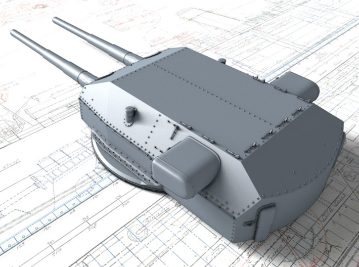 "1/600 H Class 40.6cm (16"") SK C/34 Guns Blast Bags 3d printed 3D render showing Anton and Dora Turret detail"