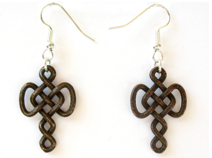 Infinite Goddess Mother earrings 3d printed Printed in polished bronze steel, with earwires added (earwires not included!)
