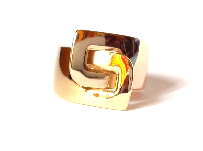 LOOP ring 3d printed Polished Brass