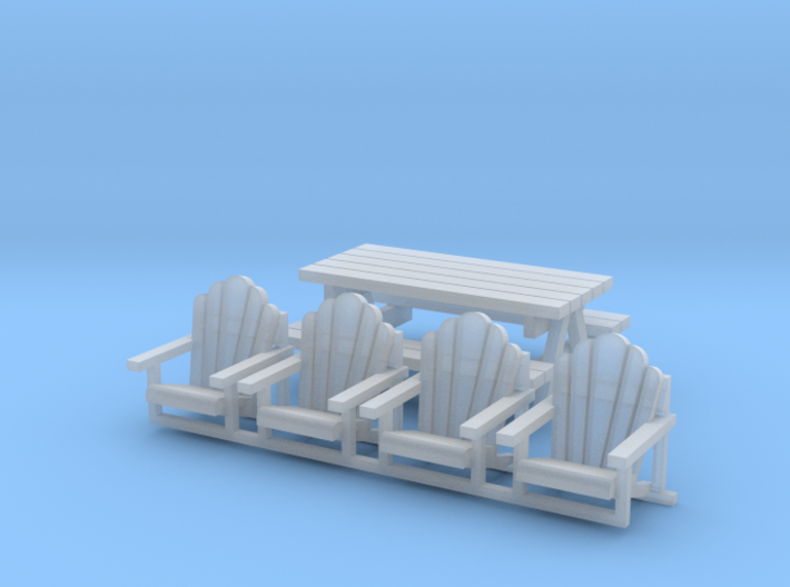 'N Scale' - Chairs and Table 3d printed