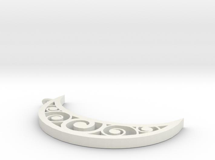 Swirl Moon Pendent 3d printed