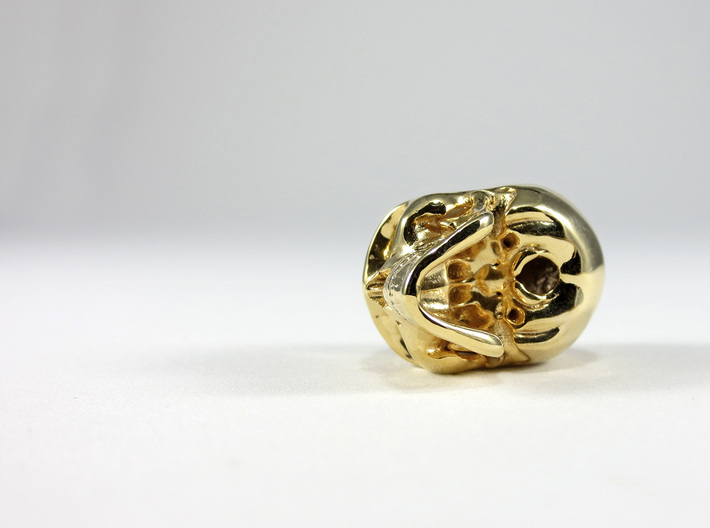 Realistic Human Skull (20mm H) - Pendant 3d printed 20mm H Pendant inGold Plated Brass