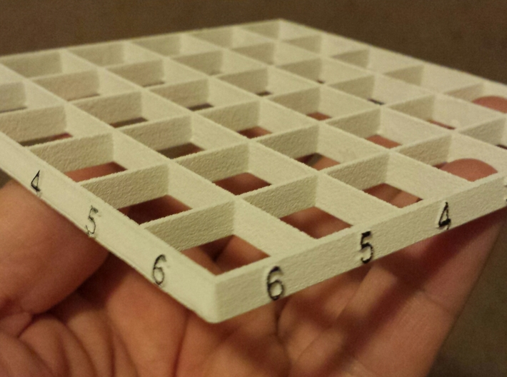Line Dice: Grids (v1.1) 3d printed The numbers, well raised, are still white. I highlighted them with a Sharpie.