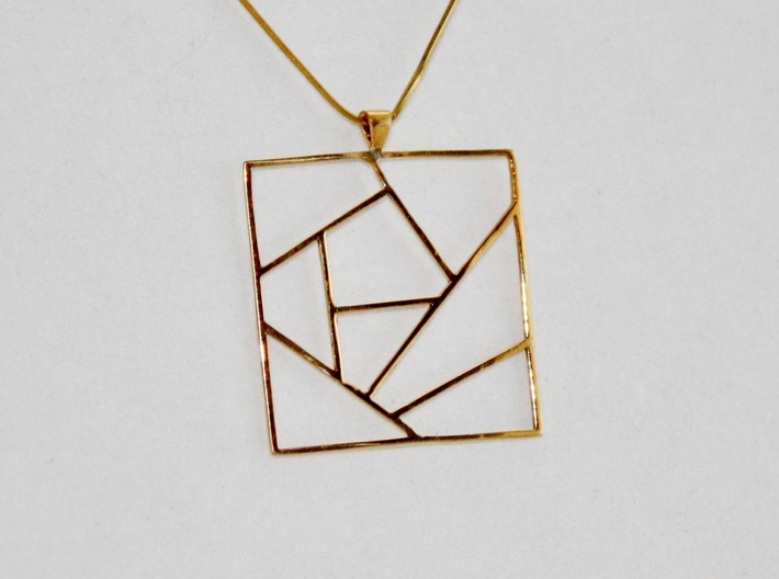 Crazy Quilt Pendant 3d printed Finished Pendant in Polished Bronze on Chain (Not Included)