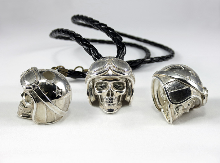 "Easy Rider Skull Pendant ""Silver"" 3d printed 25mm H Pendant in Polished Silver"
