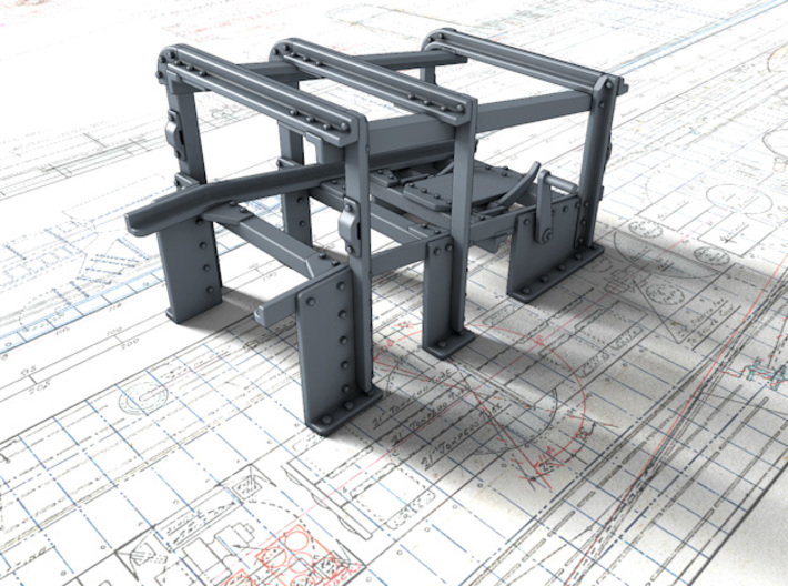 1/56 Royal Navy Small Depth Charge Rack x1 3d printed 3D render showing product detail