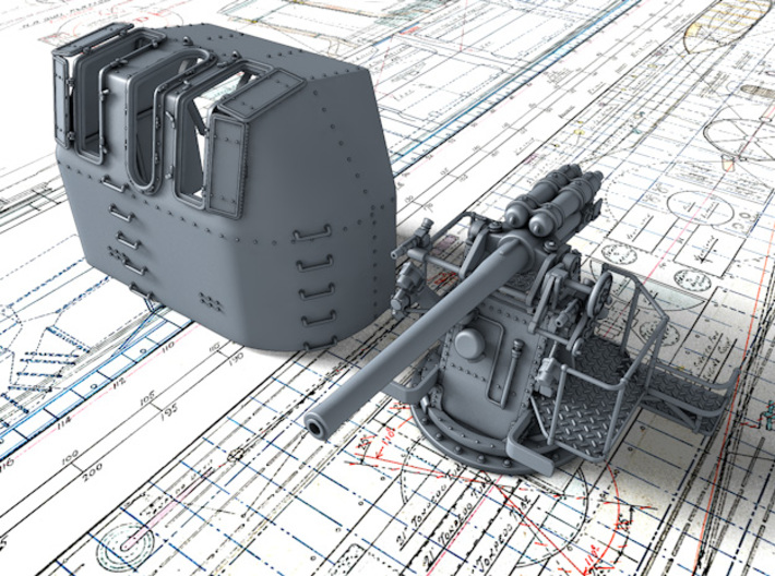 """1/48 RN 4"""" MKV P Class Gun (A or Y Mount) x1 3d printed 3d render showing product detail"""