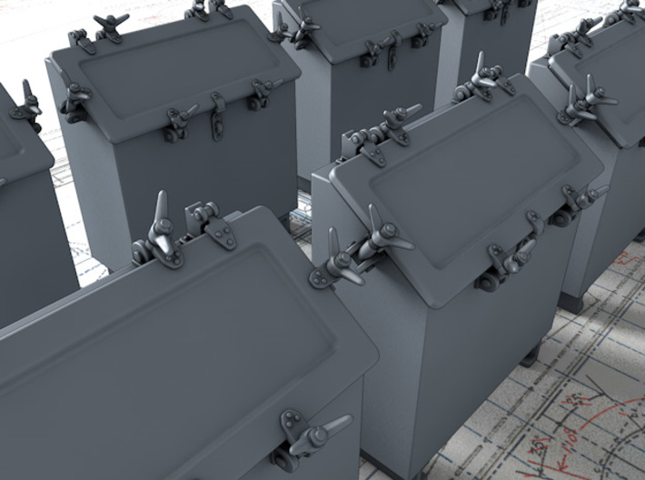 1/56 Royal Navy Quad Vickers Ready Use Lockers x8 3d printed 3d render showing product detail