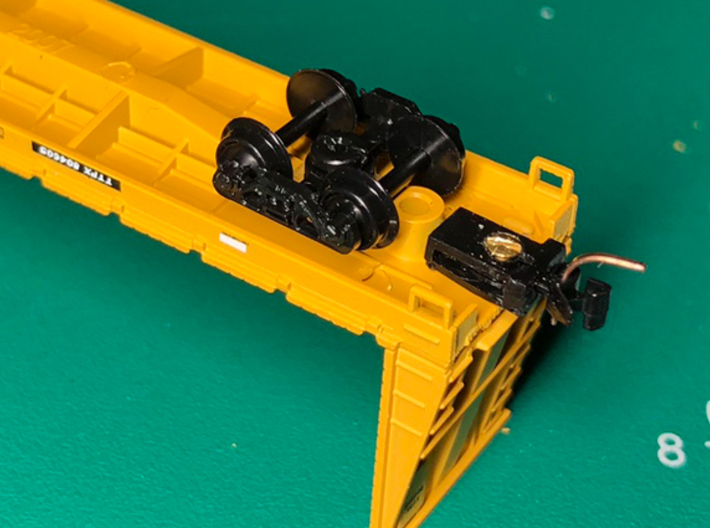 Flat Car Truck Mounts (3 pair) 3d printed Body mounted couplers added