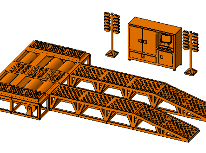 1/50th Dyno Dynamometer Chassis Test Platform 3d printed shown with accessory set, available separately