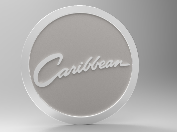 Caribbean Logo 3d printed Rendered in keyshot5 with non-printed materials