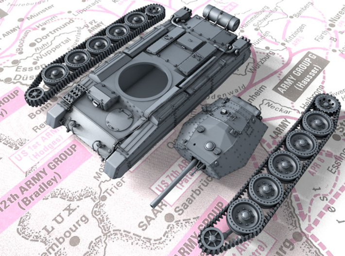 1/87 (HO) British Crusader Mk III Medium Tank 3d printed 3d render showing product parts