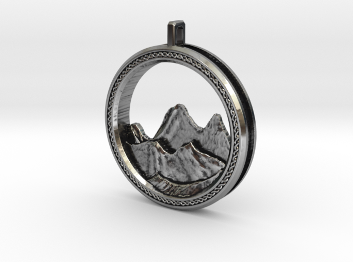 Mountain Pendant 3d printed