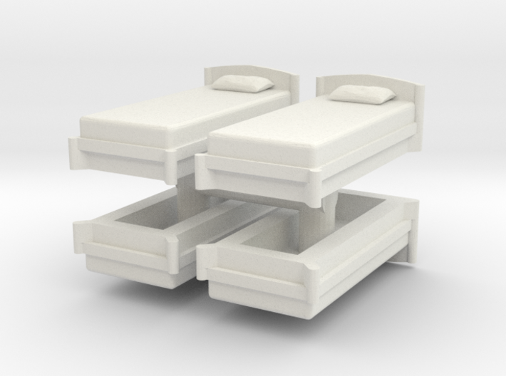 Single Bed (x4) 1/72 3d printed