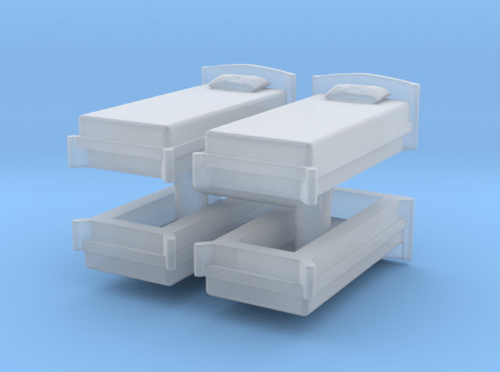 Single Bed (x4) 1/220 3d printed