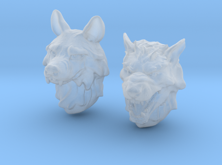 Anthropomorphic wolf heads (HSD miniatures) 3d printed