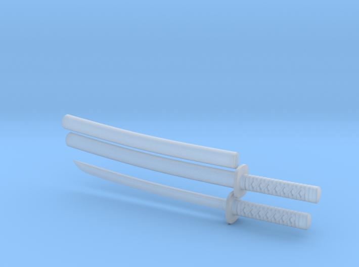 Wakizashi - 1:12 scale - Curved blade - Tsuba 3d printed