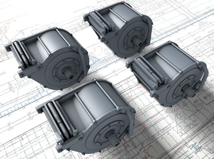 1/24 Royal Navy 20mm Oerlikon 60 Round Magazine x4 3d printed 3D render showing exposed shells in Magazine Loader