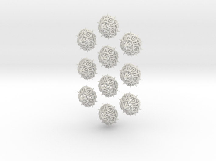 10d10 Thorn Dice Set 3d printed In stainless steel.