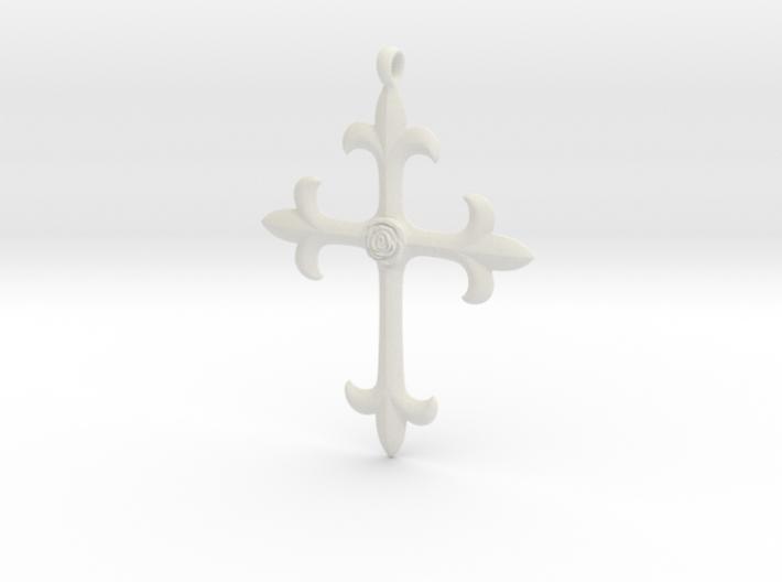 Crucifix_w_Rose 60mm 3d printed