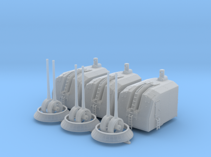 "1/150 French Navy 100mm/45 (3.9"") CAD Mle 1937 x3 3d printed 1/150 French Navy 100mm/45 (3.9"") CAD Mle 1937 x3"