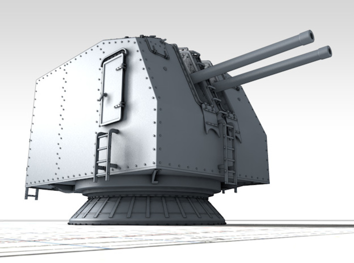 "1/150 French Navy 100mm/45 (3.9"") CAD Mle 1937 x3 3d printed 3d render showing product detail"